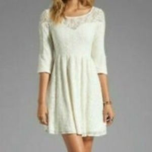 Free People Cream Lace Shift Party Dress Sz 2